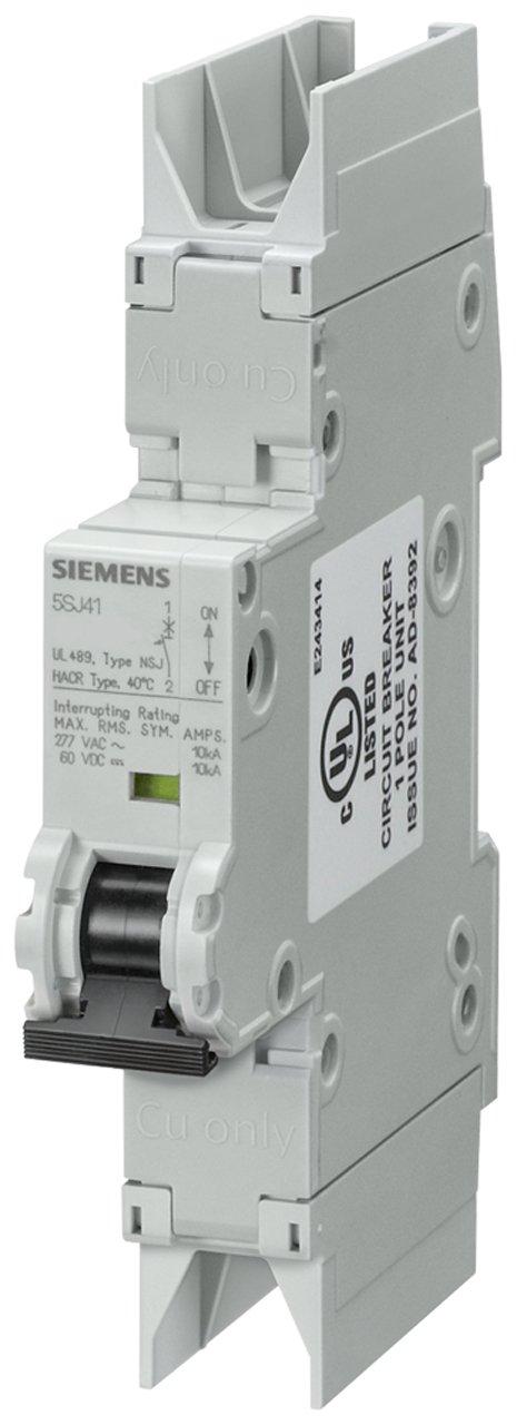 Siemens 5SJ41068HG42 Miniature Circuit Breaker, UL 489 Rated, 1 Pole Breaker, 6 Ampere Maximum, Tripping Characteristic D, DIN Rail Mounted, Type NSJ, 277 VAC, 60 VDC