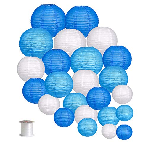 24pcs Round Paper Lanterns for Wedding Birthday Party Baby Showers Decoration Blue/White -