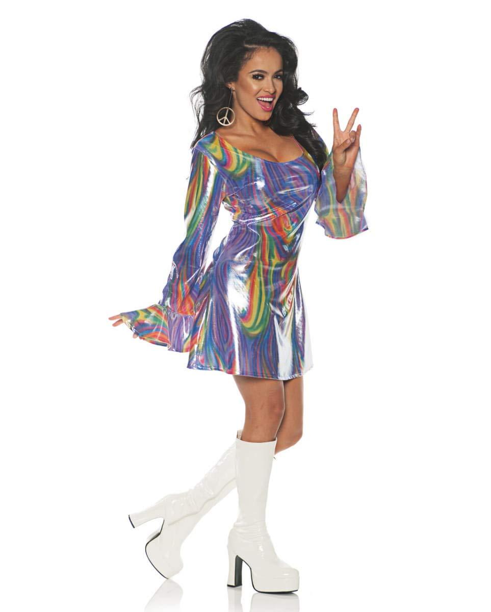 Horror-Shop Vestido de Hippie Arco Iris M