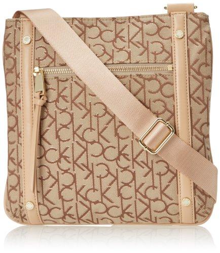 Calvin Klein Hudson Jacquard Cross Body Bag,Khaki/Brown/Gold,One Size