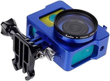 Black MEETBM ZIMO,Housing Shell Metal Protective Cage with Basic Mount UV Lens Filter for Xiaoyi Color : Blue Screw