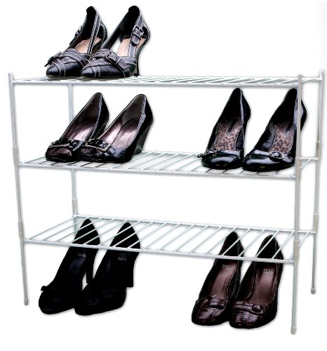 Shoe Triple Cabinet Finish - Grayline 40186, Extra Large Triple Stackable Shelves, White
