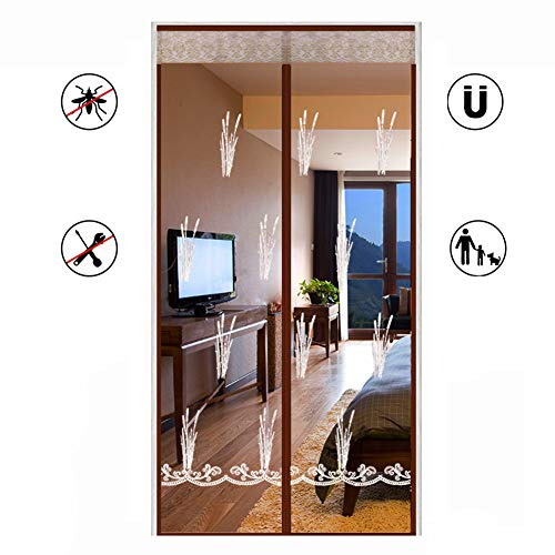 (Hands Free Magnetic Screen Door, Reinforced Magnet Full Frame Velcro Heavy Duty Embroidered Mesh Curtain Automatic Closing Keep Bugs Out)