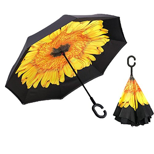 UPC 645195190879, XIAO MO GU Creative Double Layer Inverted Umbrella Cars Reverse Umbrella, Windproof UV Protection Inverted Umbrella for Car Rain Outdoor Hands Free Handle With Carrying Bag