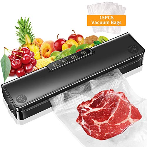 Vacuum Sealer Machine, Automatic Food Sealer Vacuum Air Sealing System For Foodsaver| Portable Sealer with 15 Vacuum Sealer Bags| Dry & Moist Food Modes| Compact | Easy to Clean | Led Indicator Lights
