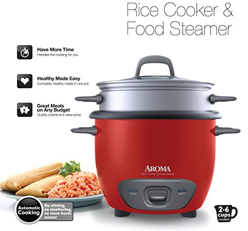 Aroma Housewares 6-Cup Pot Style Rice Cooker and Food Steamer