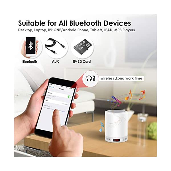 5 EN 1 Lampe de Chevet Tacile Rechargeable Portable,JOLVVN Lampe de Table Enceinte Bluetooth Musique USB FM Radio Réveil Numérique Lumière LED Multicolore Cadeau Hommes/Femmes/Enfants 3