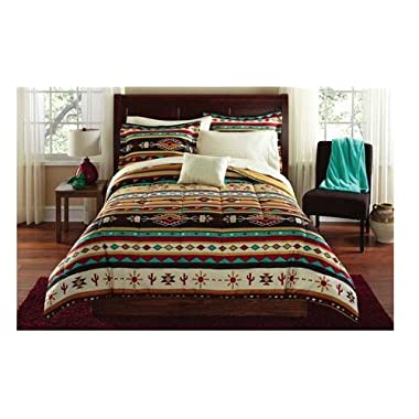 Southwest Turquoise Tan Red Native American Full Comforter Set (8 Piece Bed In A Bag)