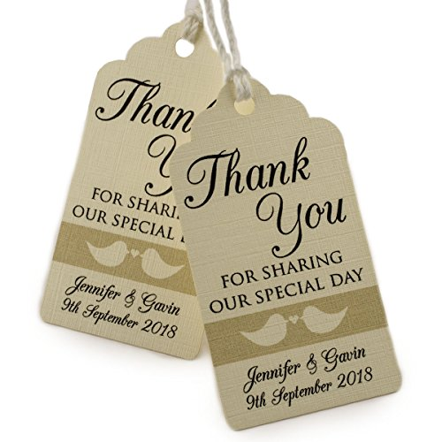 Summer-Ray.com 50pcs Personalized Forever Love Mini Royale Cream Wedding Favor Gift Tags Thank You for Sharing Our Special - You Customize