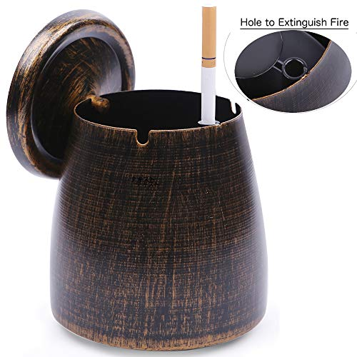 LOTUS LIFE Ashterior Ashtray with lid for Cigarettes Windproof Stainless Steel Outdoor Indoor Copper Brown (Large)