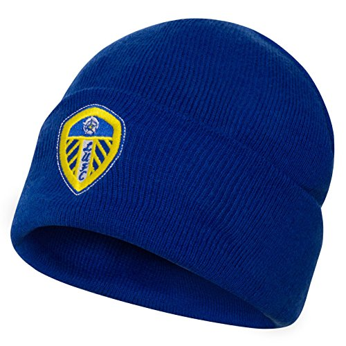 Leeds United AFC Official Soccer Gift Adults Knitted Bronx Beanie Hat Royal
