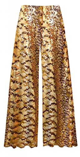 "Sanctuarie Designs/ 9xT/Autumn Leaves Metallic Orange Yellow Brown Slinky Print Wide Leg Plus Size Supersize Palazzo Pants 9x Tall / 80"" Hips & 32"" Length"