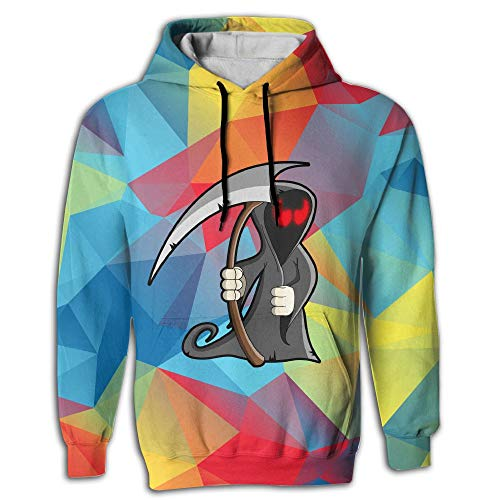Qinf Halloween Death Adult Hooded Sweatshirt 2 Pockets Hoodies for Mens ()