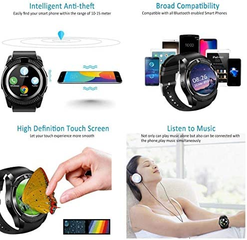 Smart Watch,Smartwatch for Android Phones, Smart Watches Touchscreen with Camera Bluetooth Watch Phone with SIM Card Slot Watch Cell Phone Compatible Android Samsung iOS Phone XS X8 10 11 Men Women 51oyEg7RWeL