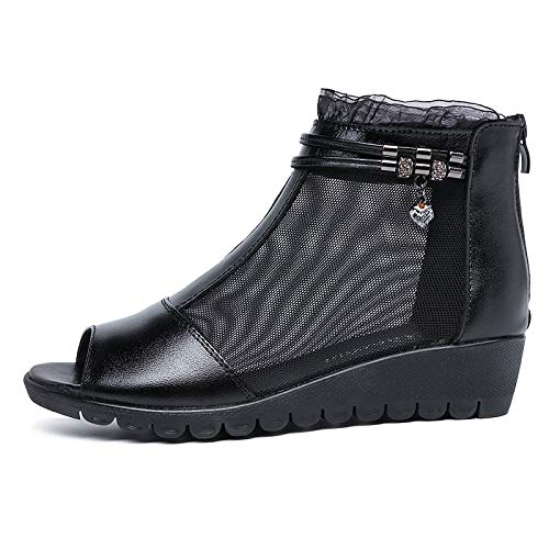AIMENGA Zapatos Planos Fondo Plano Casual Zapatos De Mujer Nuevos Modelos Talón Heals Sandalias Cómodo Zapatos De Boca De Pescado black