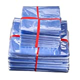 20x40cm (7.9x15.7 inch) Industrial Grade PVC Heat Shrink Wrap Bags Flat Heat Shrinkable Long Term Cosmetic Airtight Storage Kjeep Fresh Pack Bath Bombs Soaps Wrapping Bottle Tamper Seal (100 Pieces)