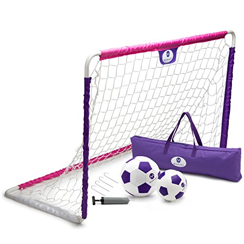 - Morvat Soccer Goal Set for Backyard, Outdoor Games Soccer Net, Soccer Goals for Kids, Soccer Accessories, Pop Up Soccer Goals, Includes Goal Net, Soccer Ball, Junior Ball and More, Pink and Purple