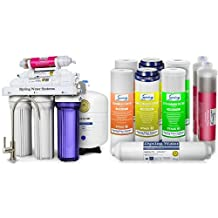 iSpring RCC7AK 6-Stage Residential Under-Sink Reverse Osmosis Water Filter System w/ Alkaline Remineralization - WQA Gold Seal Certified, 75 GPD & iSpring F9K 1-Year Replacement Filter Set for Alkaline RO Water Filter, Fits iSpring RCC7AK RCC7PAK RCC1PAK  (9pcs 2SED 2GAC 2CTO 1T33 2AK, no membrane)