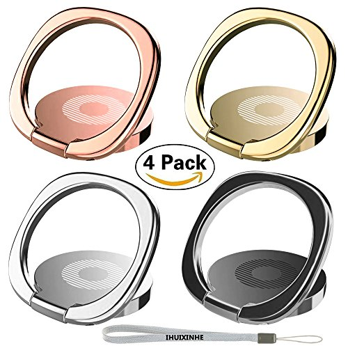 Phone Ring, IHUIXINHE 4PCS 360° Rotation Universal Cell Phone Finger Ring Grip Stand Ultra-Thin Swivel Ring Buckle Phone Grip Kickstand for Universal Smartphone iPhone X 8 7 6 Plus Galaxy S8 S9 Note8
