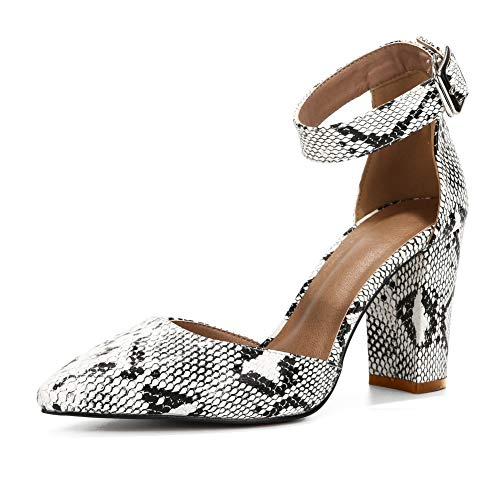 Women's Ankle Strap Pointed-Toe Chunky Block High Heel Dress Pump Shoes PU Snakeskin Label Size 40-250mm - US - Pumps Snakeskin