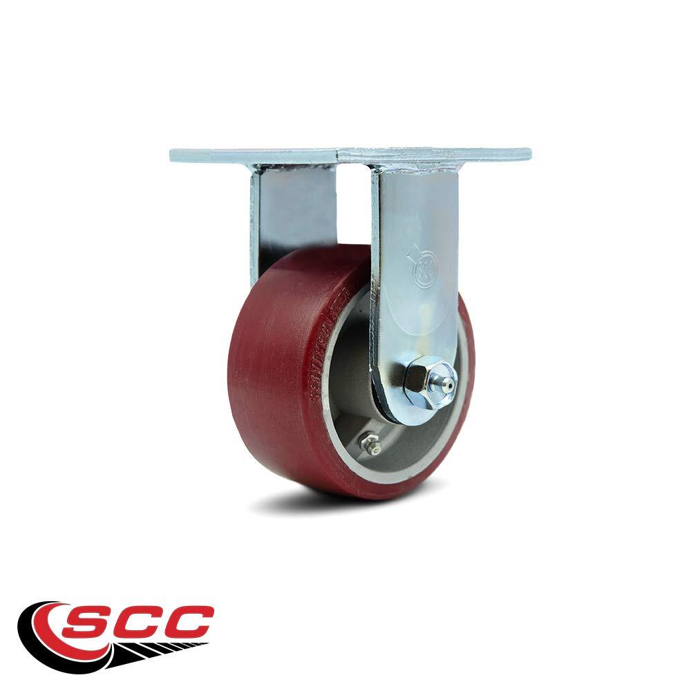 Service Caster - 4'' x 2'' Polyurethane on Aluminum Wheel Rigid Caster - 700lbs/Caster
