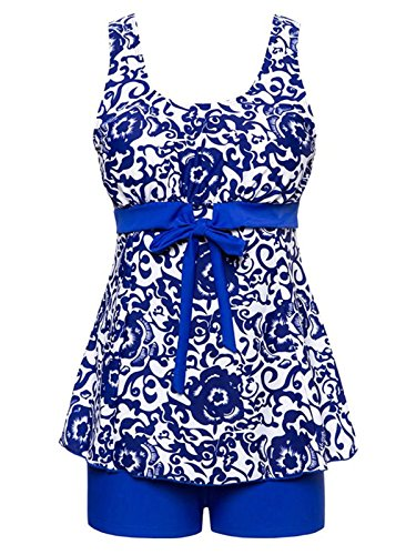 Century Star Women's Summer Floral Printed Swimdress Swimsuit Two Piece Swimwear Plus Size Tankini With Boyshort Bathsuits Ethnic Blue 4XL (US - Bathing Suits Two Peice