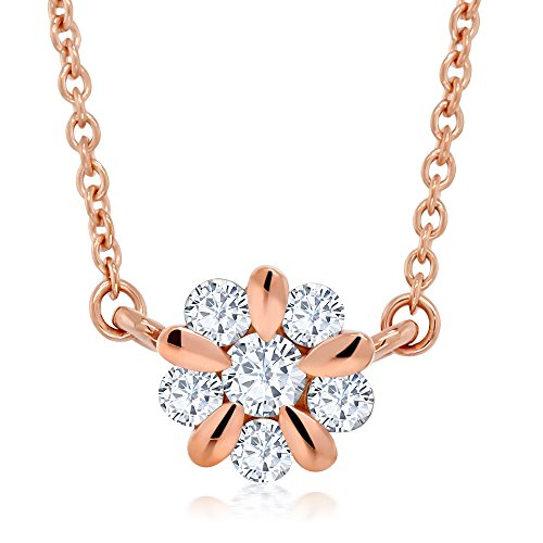 White Rose Flower Necklace - 10K Rose Gold 0.156 Cttw White Diamond Flower Blossom Pendant Necklace