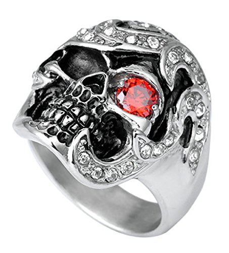 Epinki Stainless Steel Rings, Men's Bands Punk Gothic Skull Inlaid Red Eye CZ Red Size 8 Red Silver