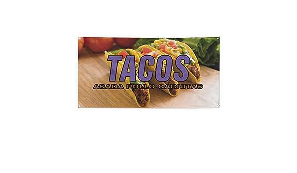 Amazon.com : Tacos Asada Pollo Carnitas Outdoor Fence Sign ...