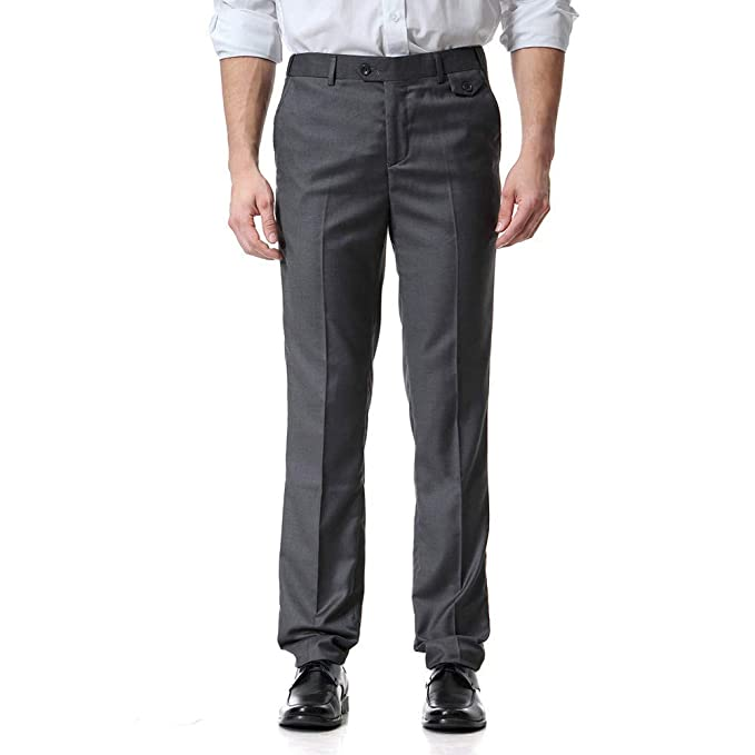 2b15980f61eed Ms lily Men's Business Suit Pants Casual Pants(Dark Gray-Large) at ...
