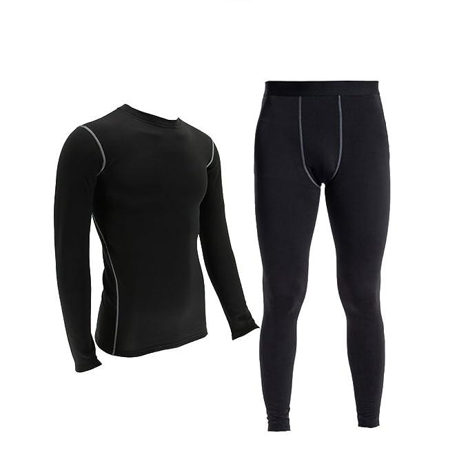 Conjunto de ropa interior térmica de compresión ligera para hombre Wicking Fleece Long Johns forrado L