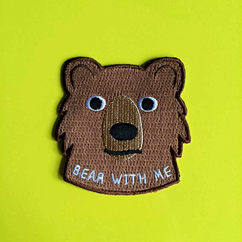 Iron On Patch - Bear Iron On Patch, Bear With Me Patch, Cute Bear Patch, Fun Animal Patch, Embroidered Patch, Brown Bear Patch, Funny Patch, Sew On Patch