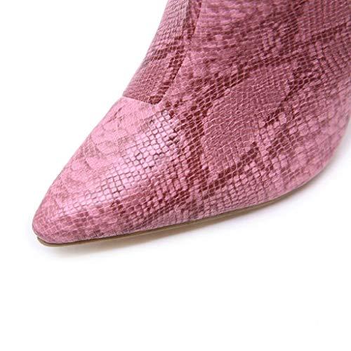 Martin Tacón Alto De Tacones Quicklyly moda Mujer Sexy invierno Botas Piel Rosado Delgados 2018 zapatos Adulto Cremallera Para botines Serpiente Otoño Con qCOZwC