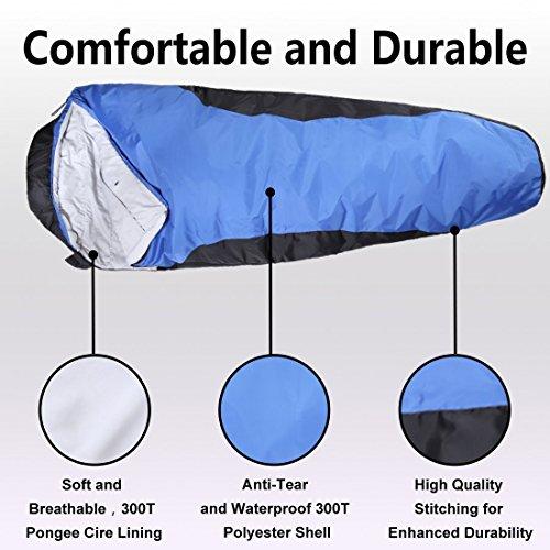 VERZEY Envelope Camping Sleeping Bag Great For 4 Season Traveling Camping Hiking Outdoor Activities Waterproof Sleeping Bag For Adults Kids Boys And Girls