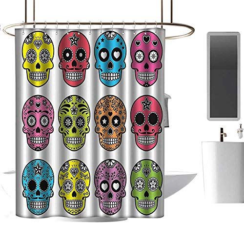 homehot Shower Curtains for Bathroom Grey Skulls Decorations Collection,Ornate Colorful Traditional Mexian Halloween Skull Icons Dead Humor Folk Art Print,Multi,W55 x L84,Shower Curtain for Men