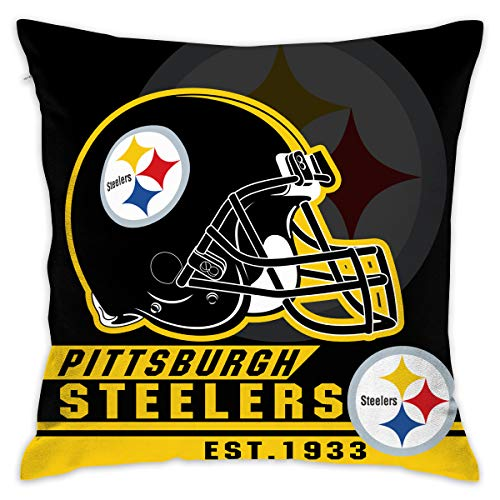 (Marrytiny Custom Pillowcase Colorful Pittsburgh Steelers American Football Team Linen Bedding Pillow Covers Pillow Cases for Sofa Bedroom Bedding Car Home Decorative - 18x18 Inches)