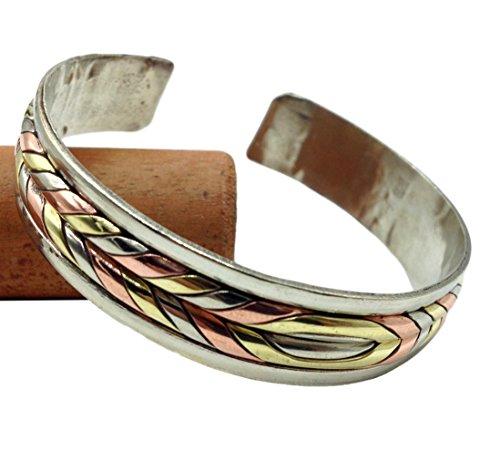 Tibetan Healing 3 Metal Bracelet. Unisex Medicine Bracelet for Arthritis and Joint Pain. (Twisted) Tibetan Three Metal
