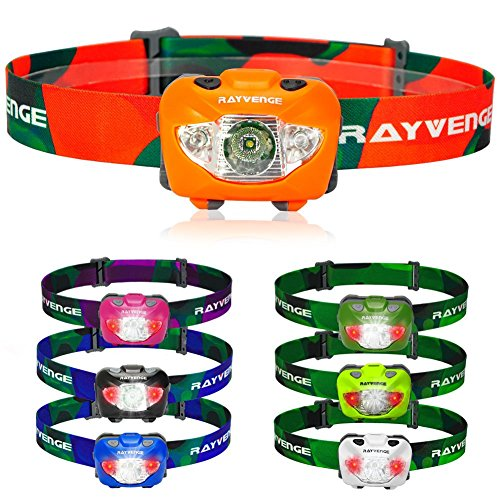 Led 3 Headlamp Tikka (RAYVENGE T3A Headlamp with Red LED - Lightweight headlamp Flashlight for Running, Hiking, Camping - Best Headlamps with 3 AAA Batteries, 168-Lumen, Waterproof, Long Battery Life (Orange))