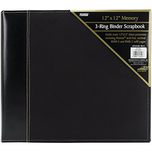 Suede 12x12 Album - Pioneer 12 Inch by 12 Inch 3-Ring Faux Suede Cover Scrapbook Binder, Black