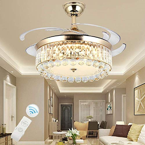 42 Inch LED Fan Chandelier with Retractable Blades,Ceiling Fan with Lights,Crystal Chandelier with Remote Control for Dining Room Living Room Bedroom Gold