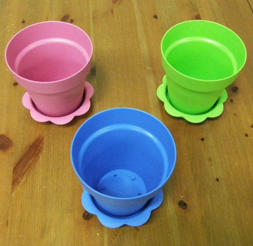 6 Plastic Flower Pots with Saucers - 4