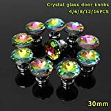 DHmart 4/6/8/12/16 Pcs/Set Colorful Clear Crystal Glass Door Knobs Furniture Handle for Drawer Cupboard Cabinet Wardrobe