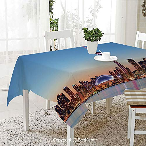 BeeMeng Large dustproof Waterproof Tablecloth,Family Table Decoration,Modern,Canadian Skyline Toronto City with Lake Panorama at Evening Urban Scenery Decorative,Light Blue Cinnamon,70 x 104 -
