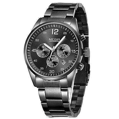 MEGIR Watches Men Casual Black Stainless Steel Band Quartz Chronograph Functions Wrist Watch