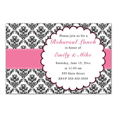 Invitations Black Wedding Damask - 30 Invitations Pink Black Damask Wedding Rehearsal Lunch Dinner Photo Paper