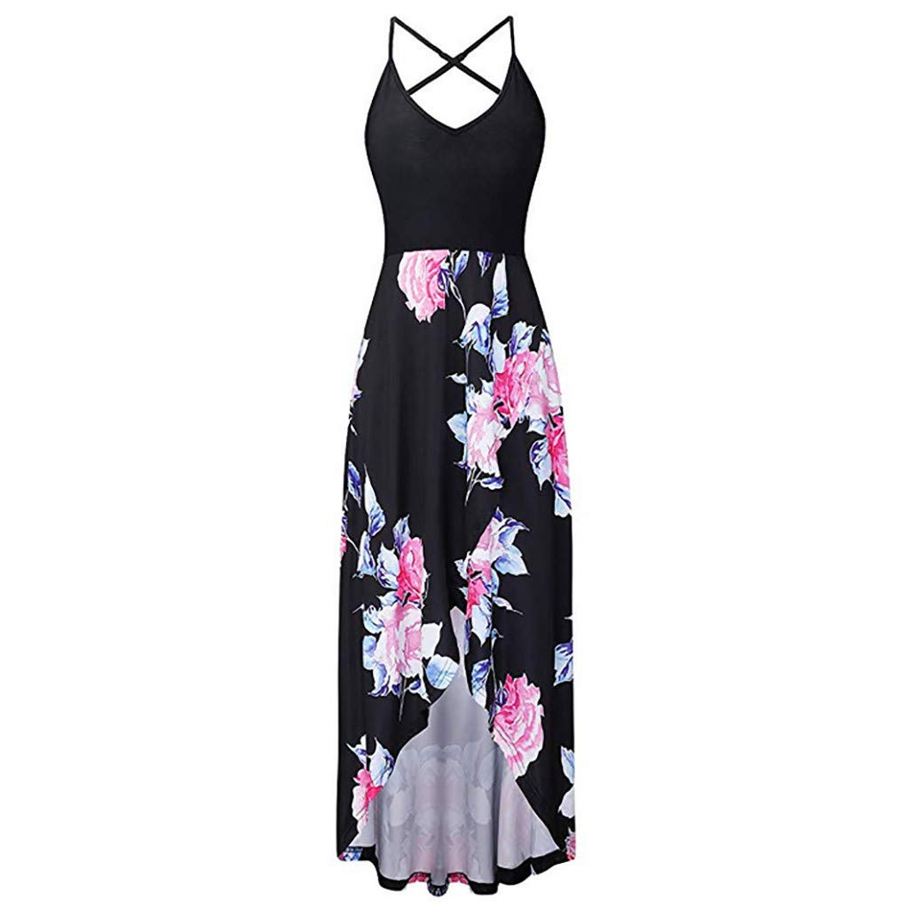 Fashion Sleeveless Sexy Backless Irregular Skirt Summer Casual Dresses Printed Halter Dress for Women's (M, Black) by S&S-women (Image #2)