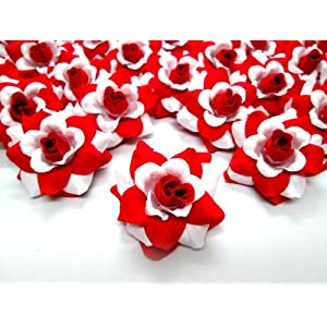 """(100) Silk White Red Roses Flower Head - 1.75"""" - Artificial Flowers Heads Fabric Floral Supplies Wholesale Lot for Wedding Flowers Accessories Make Bridal Hair Clips Headbands Dress 2"""