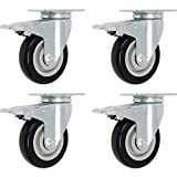 Online Best Service 4 Pack Caster Wheels Swivel Plate Brake Casters On Black Polyurethane Wheels (3 inch with Brake)