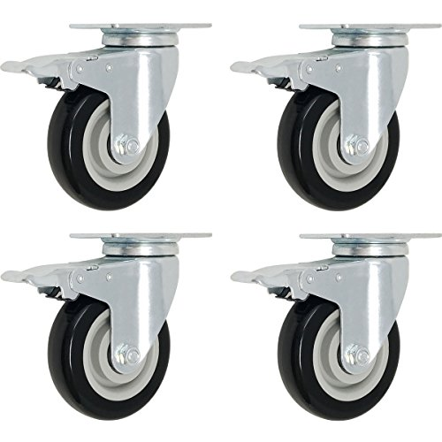 (4 Pack Caster Wheels Swivel Plate Brake Casters On Black Polyurethane Wheels (3 inch with Brake) )