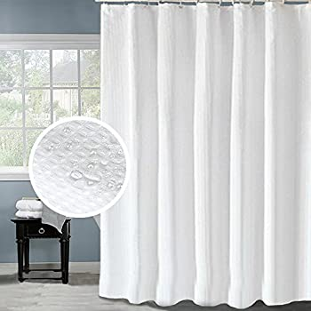 eforcurtain water repellent waffle shower curtain fabric mildewfree bathroom curtain for hotel extra long 72 by 78inch pearl white